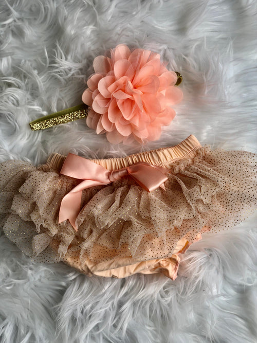 Peach & Gold Glitter Tutu Bloomer w/ headband
