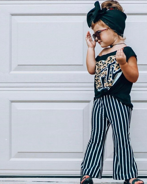Black & While Striped Bell Bottoms