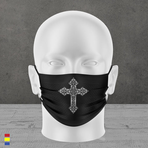 ORNATE CROSS FACE MASK (black)