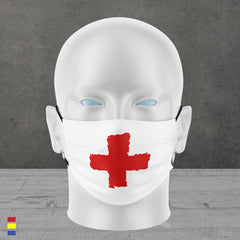 RED CROSS FACE MASK (white)