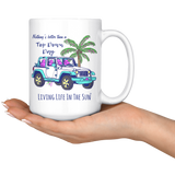 Living Life In The Sun, Top Down Day, Jeep Coffee Mug, Coastal Mug, Southern Mug, Preppy Jeep Cup, Jeep Lover, Jeep Girl, Jeep Gift, Jeep Coffee Cup, Palm Tree Mug