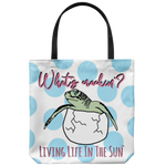 southern beach bags - southern beach totes - baby sea turtle hatching printed bag - what's cracking - summer tote bag - living life in the sun
