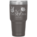 laser engraved tumblers - nursing student gifts - Peace Love Mask - Wear A Mask Tumbler - living life in scrubs