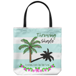 Throwing Shade, Palm Tree Tote, Beach bag, Beach Tote, Preppy Coastal Southern Tote, Beach Tote With Saying, Pink Palm, Blue Stripe Tote Bag