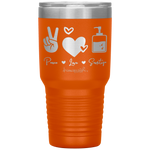 laser engraved tumblers - nursing student gifts - peace love sanitize - living life in scrubs