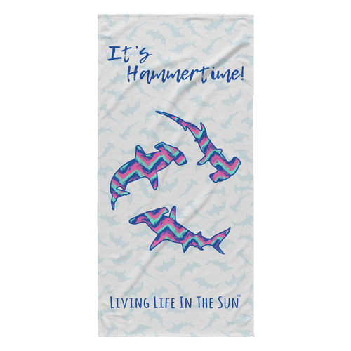 Hammerhead Chevron Beach Towel | Shark towel | It's Hammertime | Lightweight Beach Towel | Living Life In The Sun