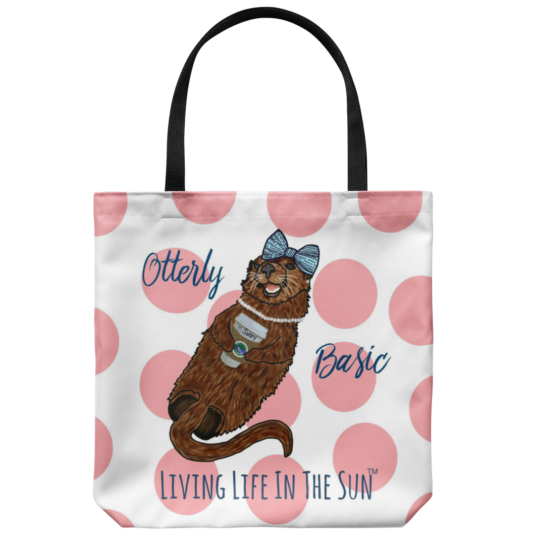 Otterly Basic, Sea Otter Tote, Coffee Tote, Preppy Beach tote, Beach Bag, Sea Otter Bag, Southern Tote, Tote with Saying, Cute Otter Tote