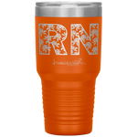 laser etched tumblers - nursing school cup - RN Floral Tumbler - living life in scrubs