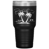 tumblers with sayings - beach gift - beach please - palm trees and waves - living life in the sun