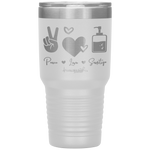 powder coated tumblers - medical gifts - peace love sanitize - living life in scrubs