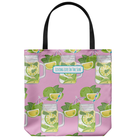 southern beach bags - southern beach totes - preppy mojito in canning jar mug print bag - summer tote bag - living life in the sun