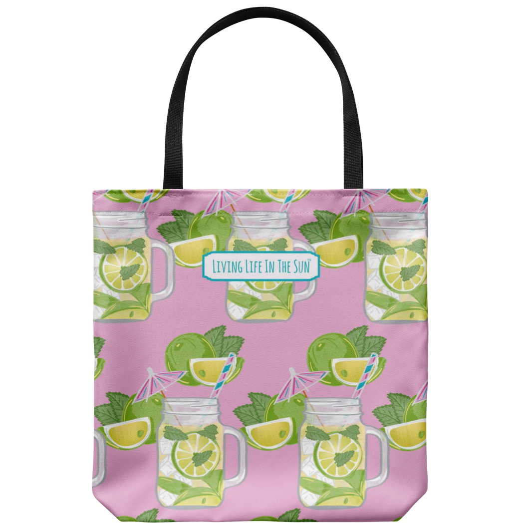 living life in the sun, mojito beach bag, beach tote, limes beach bag, simply southern, coastal tote, preppy print beach bag, alcohol spring break beach bag