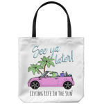 southern beach bags - southern beach totes - alligator in convertible road trip - see ya later alligator - summer tote bag - living life in the sun