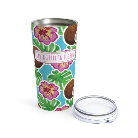 beach tumblers - stainless steel - insulated - coconut hibiscus and palm leaves tumbler - living life in the sun