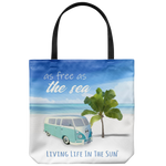 Free As The Sea, Beach Tote, Tote Bag, Beach Bag, VW Van art, Palm Tree, Tote With Saying, retro tote bag, wanderlust tote, southern tote