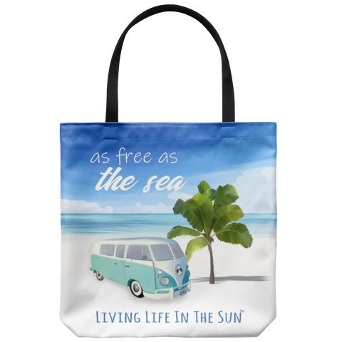 southern beach bags - southern beach totes - free as the sea - retro van on beach with palm printed bag - summer tote bag - living life in the sun