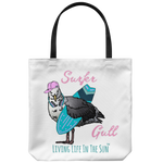 southern beach bags - southern beach totes - surfing sea gull with hat and headphones - surfer gull - summer tote bag - living life in the sun