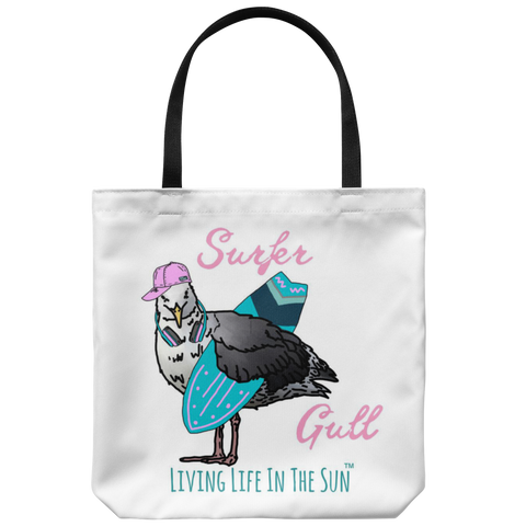 Surfer Gull, Seagull Tote, Surf Tote, Beach Tote, Surfer Girl Tote, Surfboard Tote, Preppy Bag, Coastal Tote, Beach Bag, Seagull With Headphones