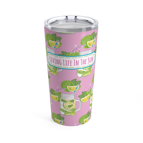 beach tumblers - stainless steel insulated - preppy mojito in canning jar print - living life in the sun