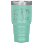 double wall insulated tumblers - registered nurse gifts - just breathe - lung anatomy cup - living life in scrubs