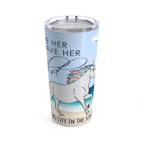 Living Life in the sun, simply southern, beach tumbler, horse tumbler, tumbler with saying, preppy tumbler, southern tumbler, stainless steel tumbler, unicorn tumbler