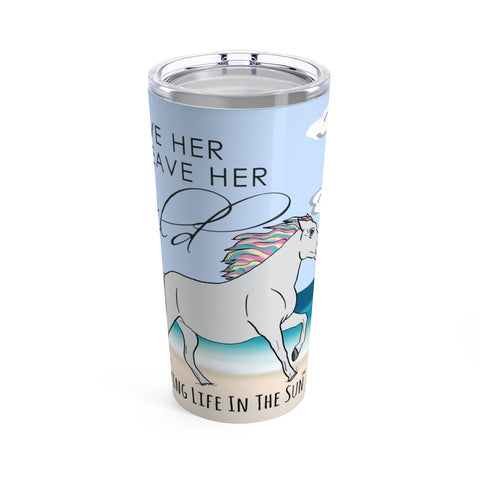 beach tumblers - stainless steel insulated - horse on beach tumbler - leave her wild - living life in the sun
