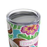 beach vacation tumblers - stainless steel insulated - hibiscus coconut and palm leaf tumbler - living life in the sun