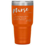 tumblers with sayings - RN gifts - nurse definition - hold my beer and watch this - living life in scrubs