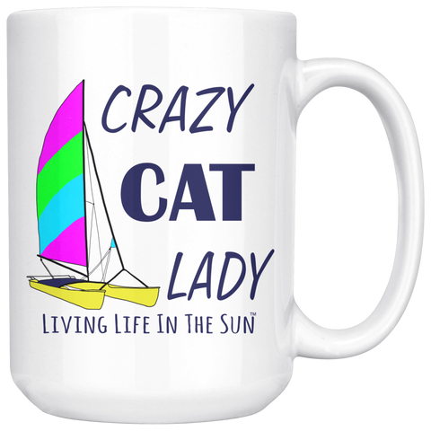 Crazy Cat Lady, Coffee Mug, Coastal Mug, Preppy Mug, Coffee Cup, Catamaran Mug, Hobie Cat Mug, Boat Mug, Boat Gift, Cat Lady Mug, Southern