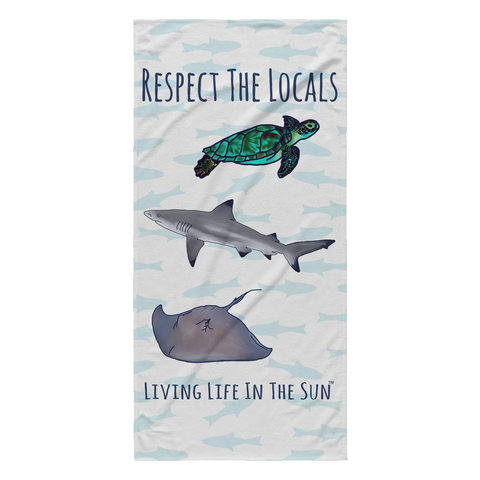 Respect The Locals Beach Towel | Shark Towel | Sea Turtle Towel | Stingray Towel | Lightweight Towel | Ocean Preservation Awareness