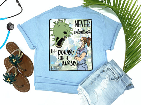 Southern Nurse Tees - Living Life In Scrubs - Coronavirus T-Shirt - Covid19 RN Shirt - Corona LPN Shirt - COVID Monster Tee - Shirts With Sayings - Never Underestimate The Power of A Nurse - Strong Nurse - N95 - Scrub Life - Brunette - Simply a blue graphic tee - comfort wear - Nurse Gift