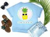 southern beach tees - be like a pineapple stand tall wear a crown and be oh so very sweet - pineapple tshirt - preppy pineapple wearing sunglasses - blue shirt - women beach clothes - living life in the sun