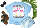 simply southern style - let's flamingle - flamingo shirt - preppy flirty love bird flamingos wearing a bowtie and pearls - blue t-shirt - coastal vacation gifts - living life in the sun