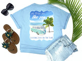 beach tees - as free as the sea - retro vw van tee - retro vw van beside palm tree on beach with waves - blue tshirt - florida fashion - living life in the sun