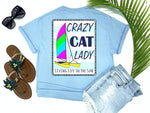shirts with sayings - crazy cat lady - catamaran boat t-shirt - hobie cat sailing on blue and white nautical background - blue t shirt - southern beach t shirt - living life in the sun