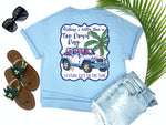 preppy graphic tees - nothing's better than a top down day - jeep t shirt - white jeep with pink and blue trim beside a pink palm with fishing poles - blue tee - vacation tshirt - living life in the sun