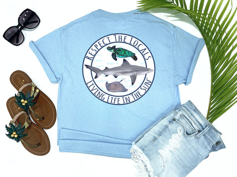 beach tees - respect the locals - shark tee - blacktip reef shark with sea turtle and stingray - blue tshirt - florida fashion - living life in the sun