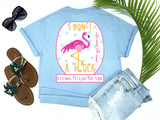 southern beach tees - i don't give a flock - flamingo tshirt - idgaf with pink flamingo leg as L and blue polkadot background - blue shirt - women beach clothes - living life in the sun