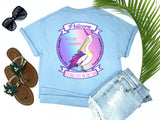 southern beach tees - never be ordinary - pelicorn tee - a pelican crossed with a unicorn makes a pelicorn with rainbow background - blue shirt - women beach clothes - living life in the sun -