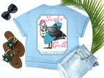 simply southern style - surfer gull - seagull shirt - seagull carrying a surf board wearing headphones and a hat - blue t-shirt - coastal vacation gifts - living life in the sun