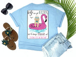 beach tees - life can get ruff but i'll always float on - puppy dog tee - dog wearing fedora and bowtie on flamingo float with waves and seagulls - blue tshirt - florida fashion - living life in the sun
