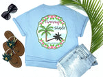 simply southern style - throwing shade - palm tree shirt - pink palm surrounded by tropical hibiscus on a preppy blue and white background with a sassy saying - blue t-shirt - coastal vacation gifts - living life in the sun