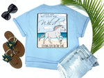 simply southern style - love her but leave her wild - horse shirt - rainbow horse running on sandy beach beside sea - blue t-shirt - coastal vacation gifts - living life in the sun