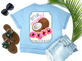 southern beach tees - let's go coconuts - coconut and hibiscus tshirt - preppy coconuts with pink and yellow hawaiian hibiscus flowers - blue shirt - women beach clothes - living life in the sun
