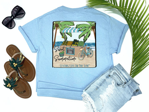 beach tees - sweet summertime - farmers market tee - beach fruit stand with beach bike and palm trees on sand with waves in background - blue tshirt - florida fashion - living life in the sun