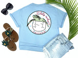 beach tees - what's crackin' - sea turtle tee - baby sea turtle hatching from egg - blue tshirt - florida fashion - living life in the sun