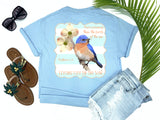 jesus tees - matthew 6:26 - blue bird tee - blue bird sitting on dogwood branch - blue tshirt - florida fashion - living life in the sun