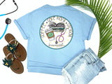 Southern Nurse Tees - Coffee Careplans Cinicals - Shirts With Sayings - Nursing student school T-Shirt - Stethoscope Books LPN RN Shirt - Cute Preppy Clothes - Living Life In Scrubs - Fun Medical Women Top - Simply a blue Graphic Tee