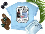 southern country girl tees - sweet and strong like a cup of southern tea - teacup and whiskey tee - preppy cute teacup with whiskey bottle and sugar sack - blue tshirt - Texas fashion - living life in the sun