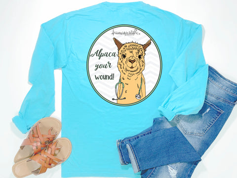 Southern Nurse Tees - Alpaca Your Wound - Shirts With Sayings - Funny RN T-Shirt - Cute LPN Top - Preppy Women Clothes - living life in scrubs - Stethoscope Llama Shirt - Long Sleeve Comfort Colors Pocket - Simply a blue graphic tee